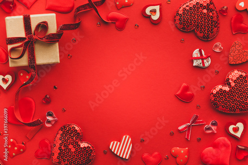 Valentine's day or Wedding romantic concept with Red hearts on red background Wallpaper Mural