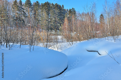 Foto Soft bizarre curves of snow surface near the winter forest