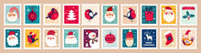 Christmas Decorative Set With Funny Santa Claus, Snowman, Deer And Gift Box.