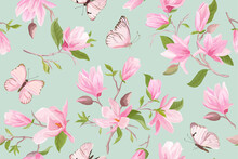 Watercolor Magnolia Floral Seamless Vector Pattern. Butterflies, Summer Magnolia Flowers, Leaves, Blossom