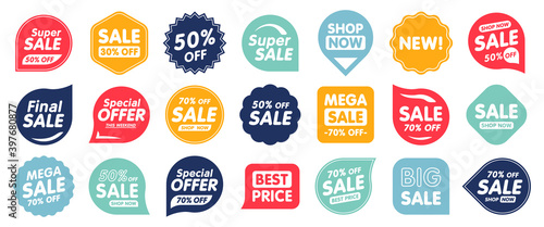 Obraz Set of Sale badges. Sale quality tags and labels. Template banner shopping badges. Special offer, sale, discount, shop, black friday. Vector illustration. - fototapety do salonu