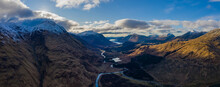 Aerial View Of Glen Etive In Winter Near Rannoch Moor In The Argyll Region Of The Highlands Of Scotland Showing Snow Dusting On The Mountains And Munros