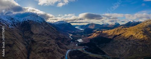 Valokuvatapetti aerial view of glen etive in winter near rannoch moor in the argyll region of th
