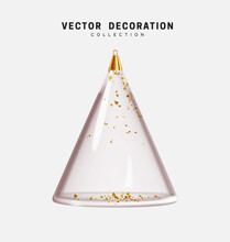 Glass Christmas And New Year's Decorative Toy Bauble In The Shape Of Conical Abstract Christmas Tree And Glitter Golden Confetti. Decor Isolated Realistic 3d Object. Vector Illustration