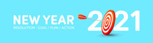 2021 New Year Resolution Banner With Red Archery Target And Arrows Archer.Goals,Plans And Action For New Year 2021 Concept.Vector Illustration Eps 10