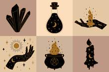 Collection Of Witchcraft Icons And Symbols With Cauldron, Candle, Hand And Potion Illustration.