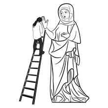 Man Climbing Step Ladder To Huge Figure Of Virgin Mary. Creative Concept. Mother And Son. Man And The Goddess. Juxtaposition Of Male And Female Archetypes. Monochrome Black And White Silhouette.