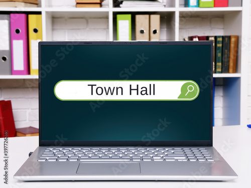 Financial concept meaning Town Hall with phrase on the page. Fototapet