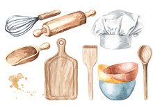 Kitchen Pastry Tools Set. Wooden Cutting Board, Spoon, Spatula, Whisk, Bowl, Chef's Hat. Hand Drawn Watercolor Illustration Isolated On White Background