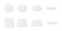White Coaster Mockup Set - Realistic Blank Circle And Square Pads