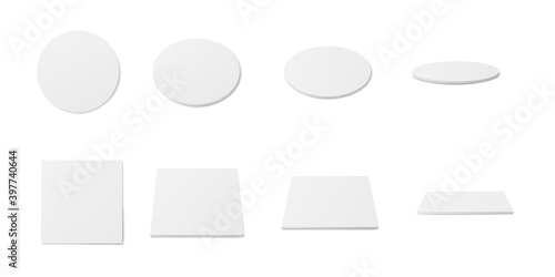 Fotografija White coaster mockup set - realistic blank circle and square pads