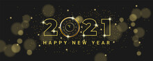 Happy New Year 2021. Luxurious New Year Celebration Banner With Vintage Golden Glowing Clock. Holiday Vector Illustration Golden Metallic Numbers 2021 And Sparkling Glitters On Black Background