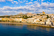 Aerial panoramic view of coastal Altea city and church of Virgin of Consol, Alicante, Spain