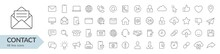 Contact Line Icon Set. Isolated Signs On White Background. Vector Illustration. Collection