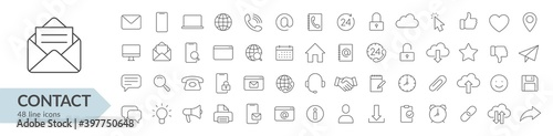 Fototapeta Contact line icon set. Isolated signs on white background. Vector illustration. Collection obraz