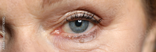 Obraz Close-up of attractive womans eye. Macro shot of senior female looking in camera. Beautiful blue colour eyeball and appearance. Wrinkles and moles. Youth and ageing. Natural beauty concept - fototapety do salonu
