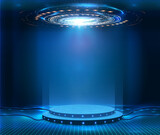 Fototapeta Perspektywa 3d - Futuristic empty stage. Modern Future background technology Sci-fi interior concept. Podium for show your product. futuristic cyberpunk concept. Circle presentation podium template for UI, UX, KIT,GUI