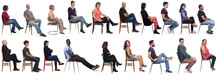 Group Of People Sitting On Chair On White Background