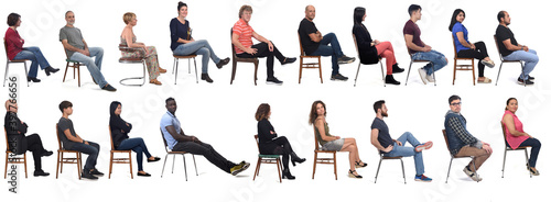 Fototapeta Group of people sitting on chair on white background obraz
