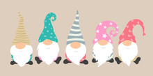 Cartoon Gnomes Vector Icon Set. Cute And Funny Characters For Greeting Card Of Christmas Holiday. Gnome Pajama Party Decoration. Isolated Characters