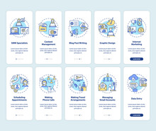 Virtual Assistant Work Onboarding Mobile App Page Screen With Concepts Set. Freelance Job Walkthrough 5 Steps Graphic Instructions. UI Vector Template With RGB Color Illustrations Collection