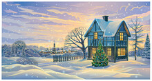 Festive Winter Landscape With A Festively Decorated House And Decorated Christmas Tree In In Rural Areas.
