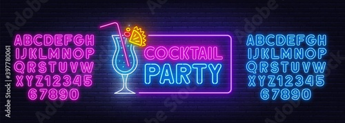 Fototapeta Cocktail Party neon sign on brick wall background. Blue and pink neon alphabets. Template for the design. obraz