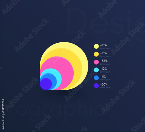 Foto Vector graphics infographics with six options