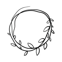 Vector Hand Drawn Spring Wreaths Isolated On White Background. Outline Willow Branch. Doodle Style. Floral Frame.