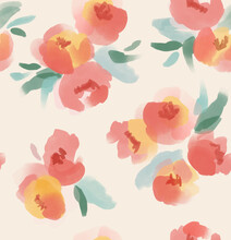 Big Floral Seamless Pattern In Cream, Pink And Yellow. Watercolor Painterly Flower Bouquets Print For Textile, Fabric, Fashion, Gifts, Wallpaper.
