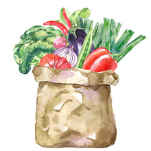 Watercolor Paper Bag With Vegetables. Grocery Shopping And Healthy Eating Concept. Hand Drawn Illustration Of Raw Food Harvest.