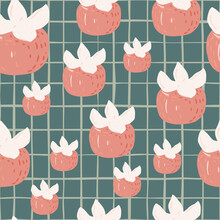 Random Seamless Doodle Pattern With Pink Abstract Persimmon Silhouettes. Grey Chequered Background.