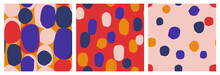 Set Of 3 Modern Abstract Seamless Patterns. Trendy Cut Out Geometric Shapes. Colorful, Bold Prints.