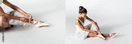 Obraz na plátně collage of graceful african american ballerina in dress adjusting pointe shoes o