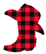 Buffalo Plaid Christmas Cowboy Boots Silhouette With Lights. Vector Illustration Cowboy Hat Country Christmas Isolated On White