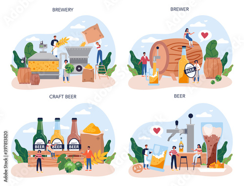 Canvas Beer concept set. Craft beer production, brewing process.