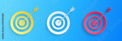 Valokuvatapetti Paper cut Target with arrow icon isolated on blue background
