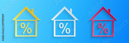 Paper cut House with discount tag icon isolated on blue background Fotobehang