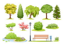 Forest And Park Trees, Bushes, Fern And Park Bench Set