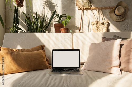 Fototapeta Laptop computer with blank screen on comfortable sofa in sunlight shadows. Minimal modern boho styled interior design. Mockup copy space. Template for blog, website, social media hero header. obraz