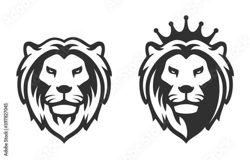 lion head emblem on white background