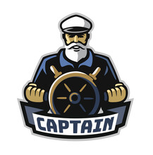 Captain Emblem With Steering Wheel On White Background