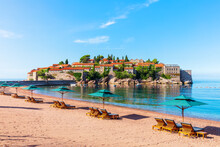 Beautiful View Of The Beach Next To The Sveti Stefan Island, Budva Region, Montenegro