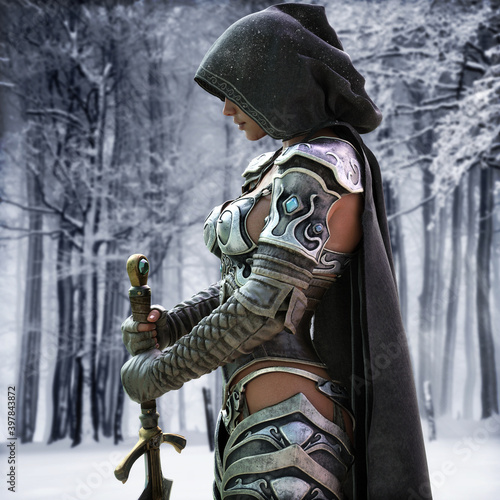 Canvas Print Mysterious Ranger warrior female wearing a hooded cape and light armor stands poised and ready with a beautiful snow terrain background