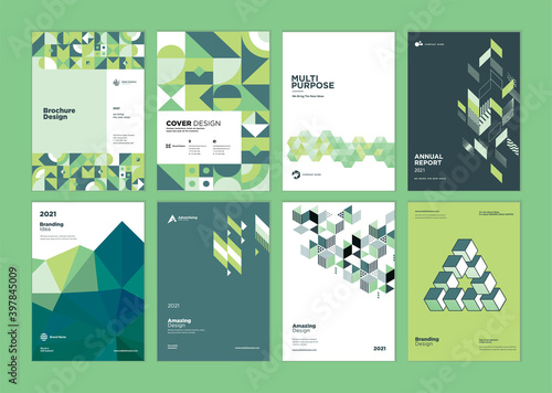 Set of brochure, business plan, annual report, cover design templates. Vector illustrations for business presentation, business paper, corporate document, flyer and marketing material. - fototapety na wymiar