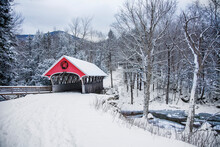 Covered Bridge Snowfall In Rural New Hampshire
