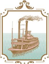 Vector Image Of Old Steamer Misishippi In Vintage Postcard Style