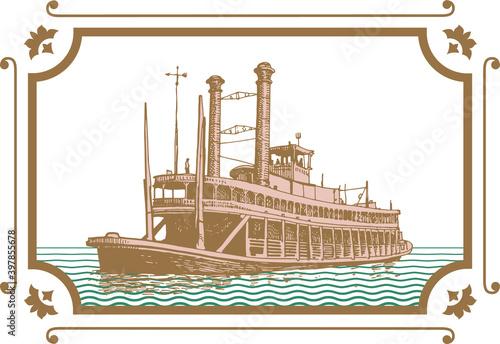 Fototapeta vector image of old steamer misishippi in vintage postcard style