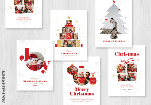 Obraz Christmas Photo Card Layout - fototapety do salonu