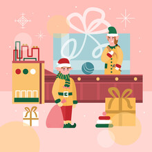 Christmas Square Banner Or Poster With Conveyor Belt Of Santas Toys Factory And Characters Of Elves, Flat Cartoon Vector Illustration. Xmas Gifts Factory With Elves.